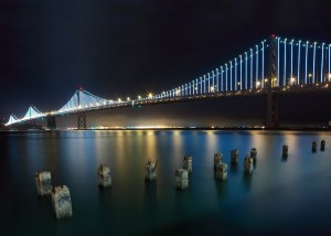The Bay Bridge with new lights